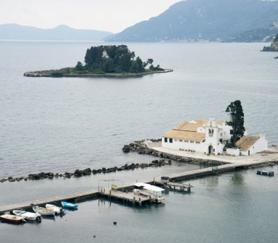 Vlacherna Monastery and Mouse island on Corfu, Pontikonisi Islan